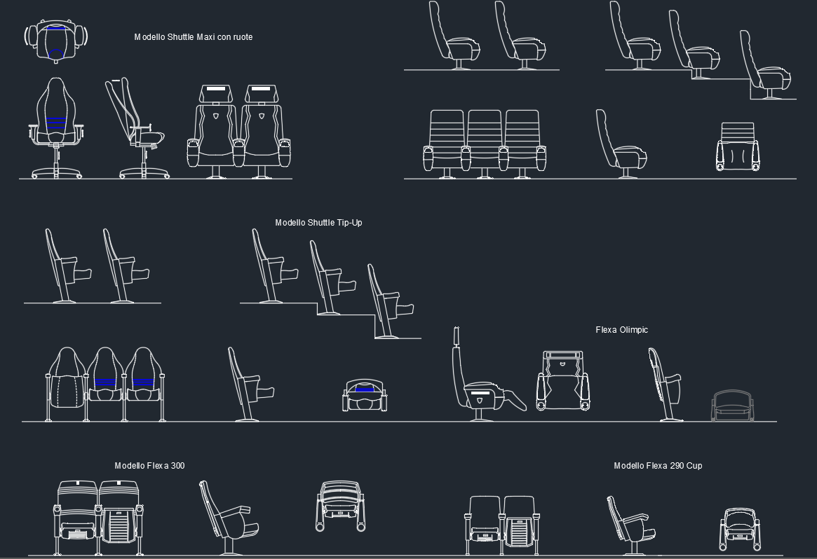 Classroom Chair Cad Block Free ~ Auditorium armchairs free cad blocks and drawing