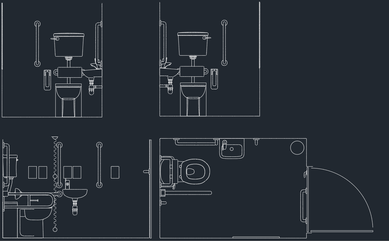 Autocad bathroom blocks dwg for Online cad drawing
