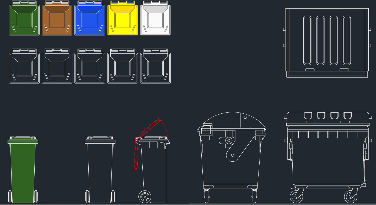 Garbage bin cad blocks free cad blocks and cad drawing - Rd rubbish bin ...