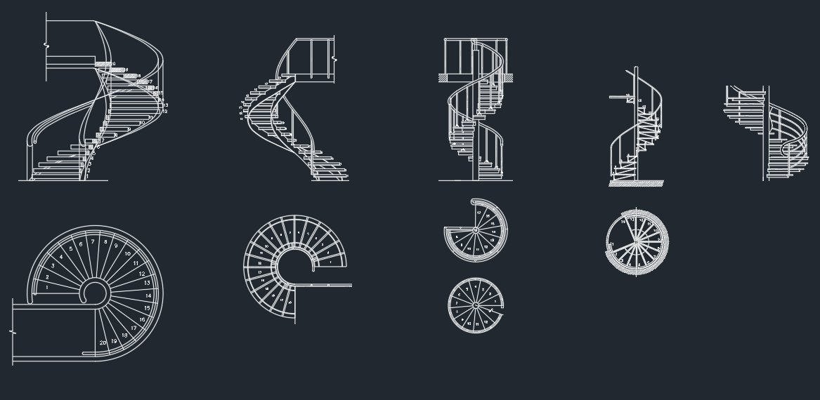 Stair archive free cad block and 3d models for Spiral stair cad