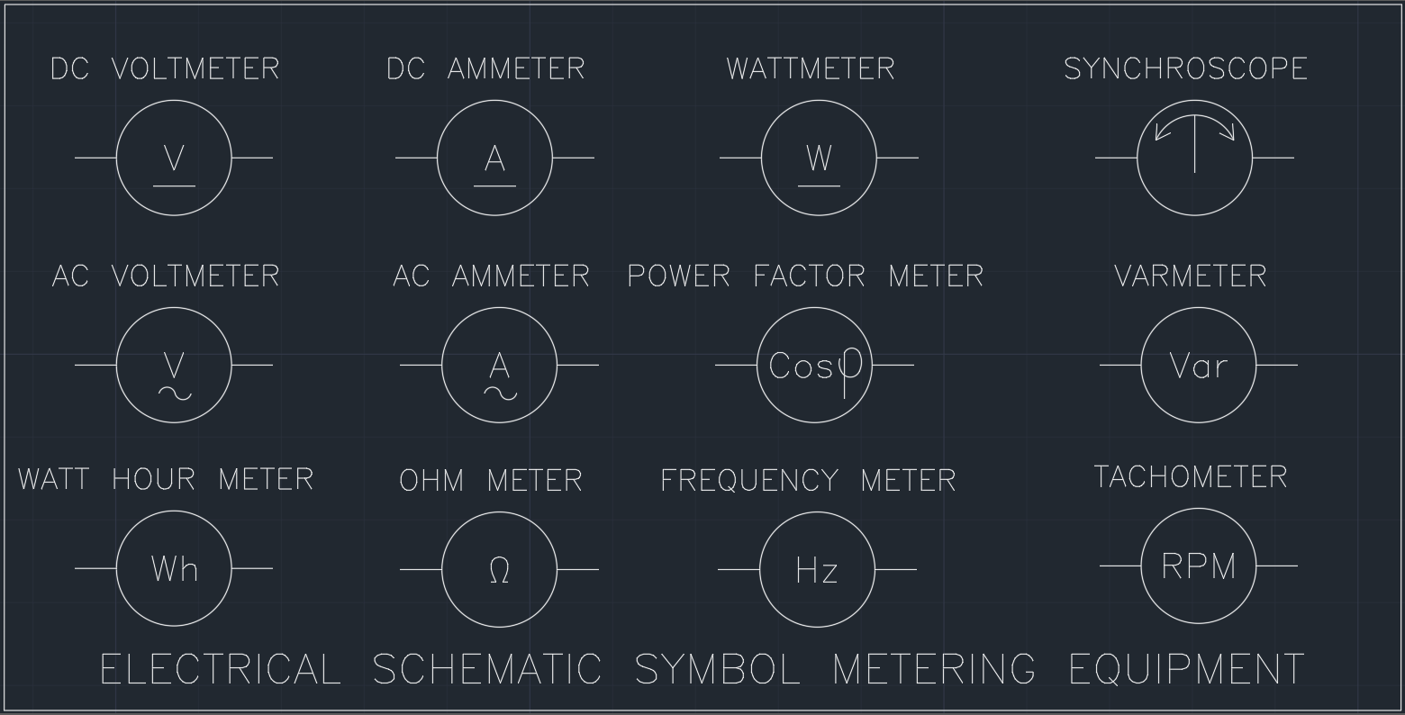 Electrical schematic cad symbols