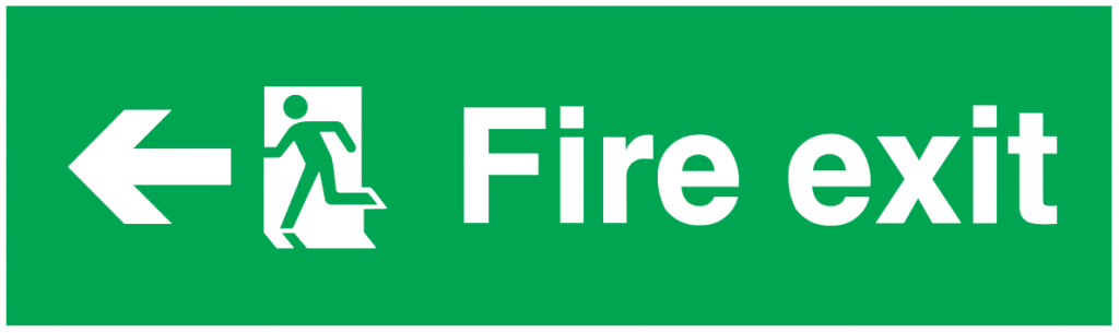 arrow left running man left fire exit sign