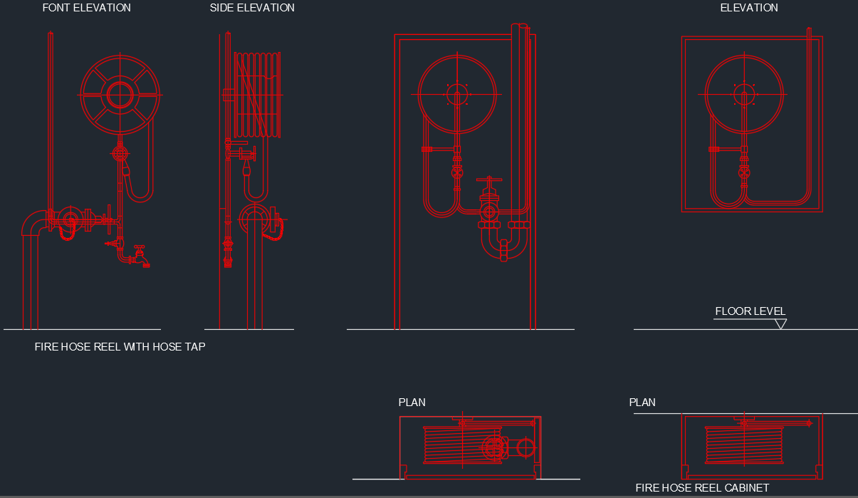 Fire Hose Reel Cabinet Cad Block And Typical Drawing
