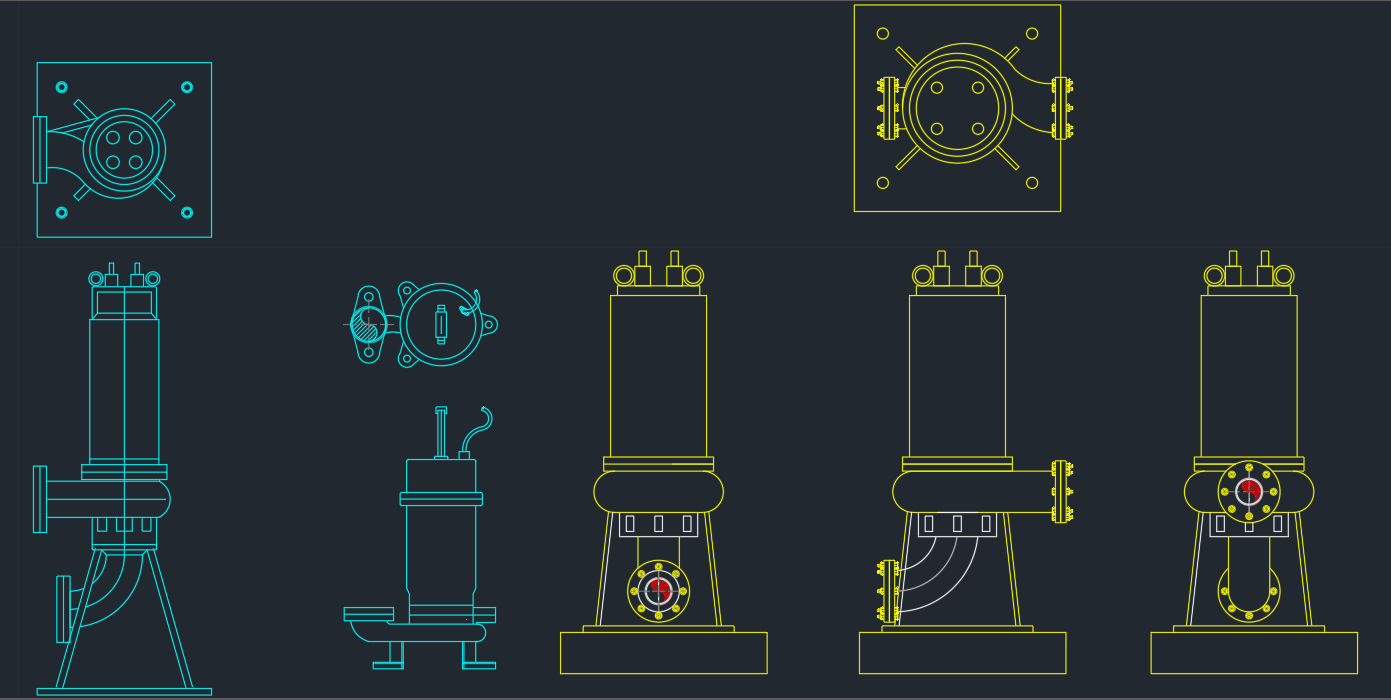 Submersible Pumps on fire alarm autocad drawings