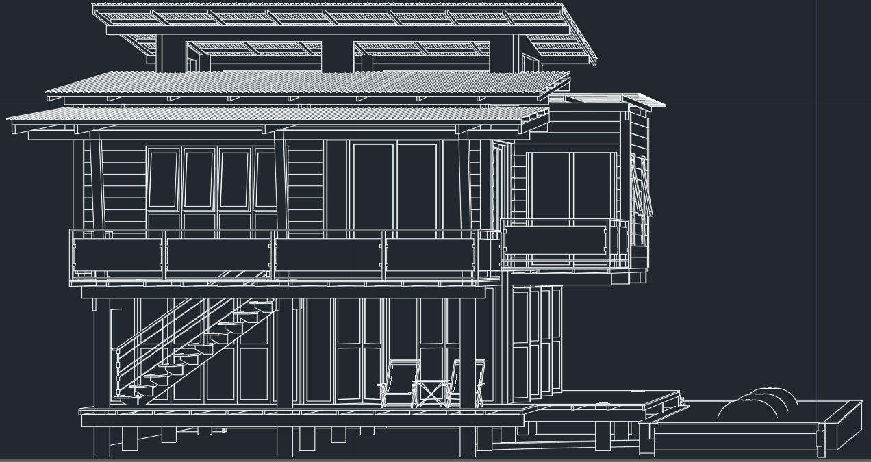 Modern house free cad block and autocad drawing Cad house