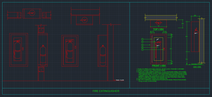 Fire Extinguisher Cabinets Cad Block And Typical