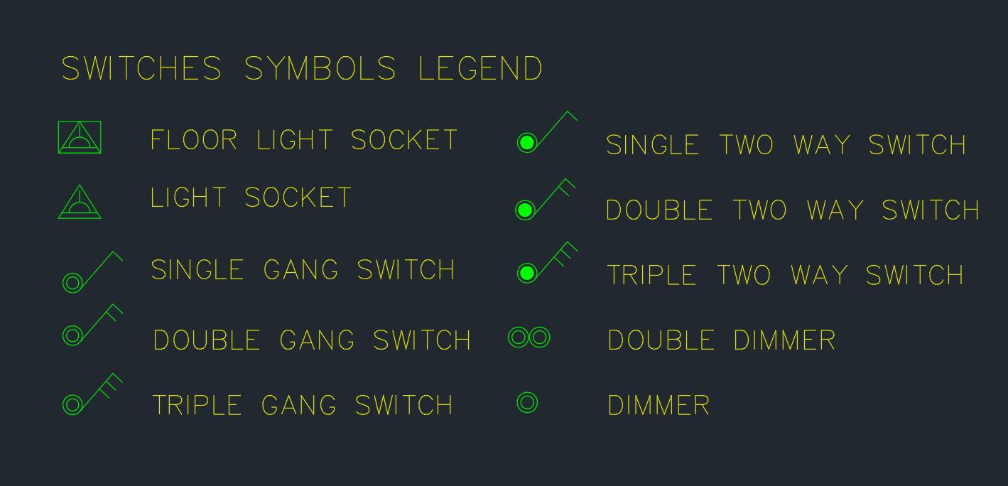 Switches Symbols Legend – AutoCAD Free CAD Block Symbol And CAD Drawing