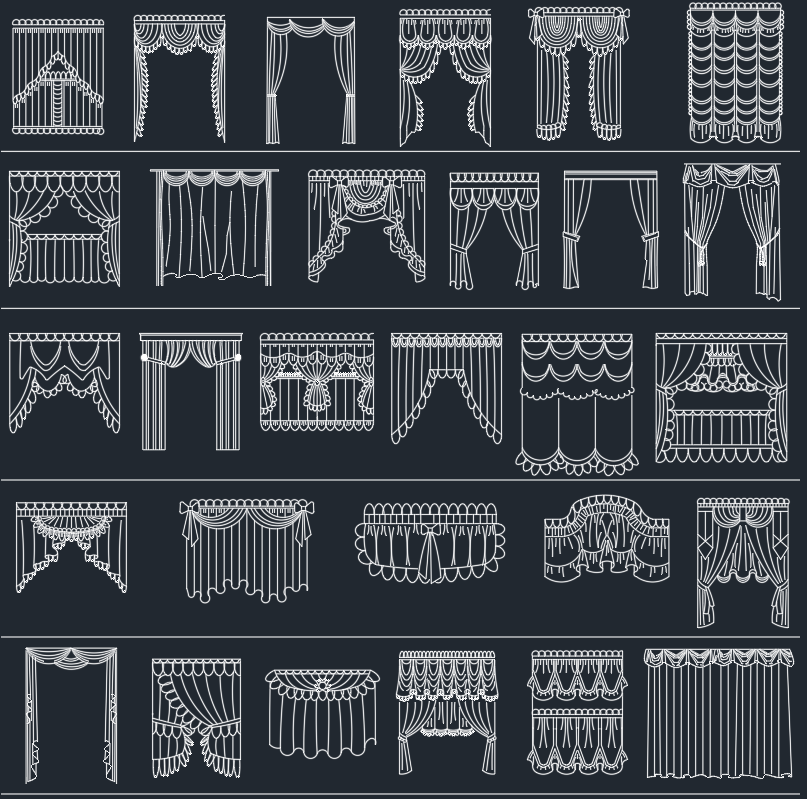 curtains  u2013 autocad free cad block symbols and cad drawing