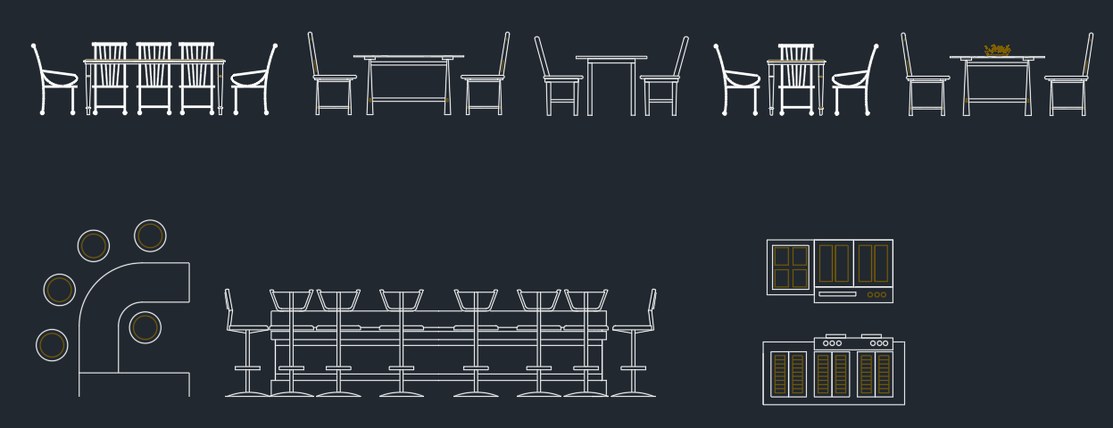 Dining room free cad blocks and drawing