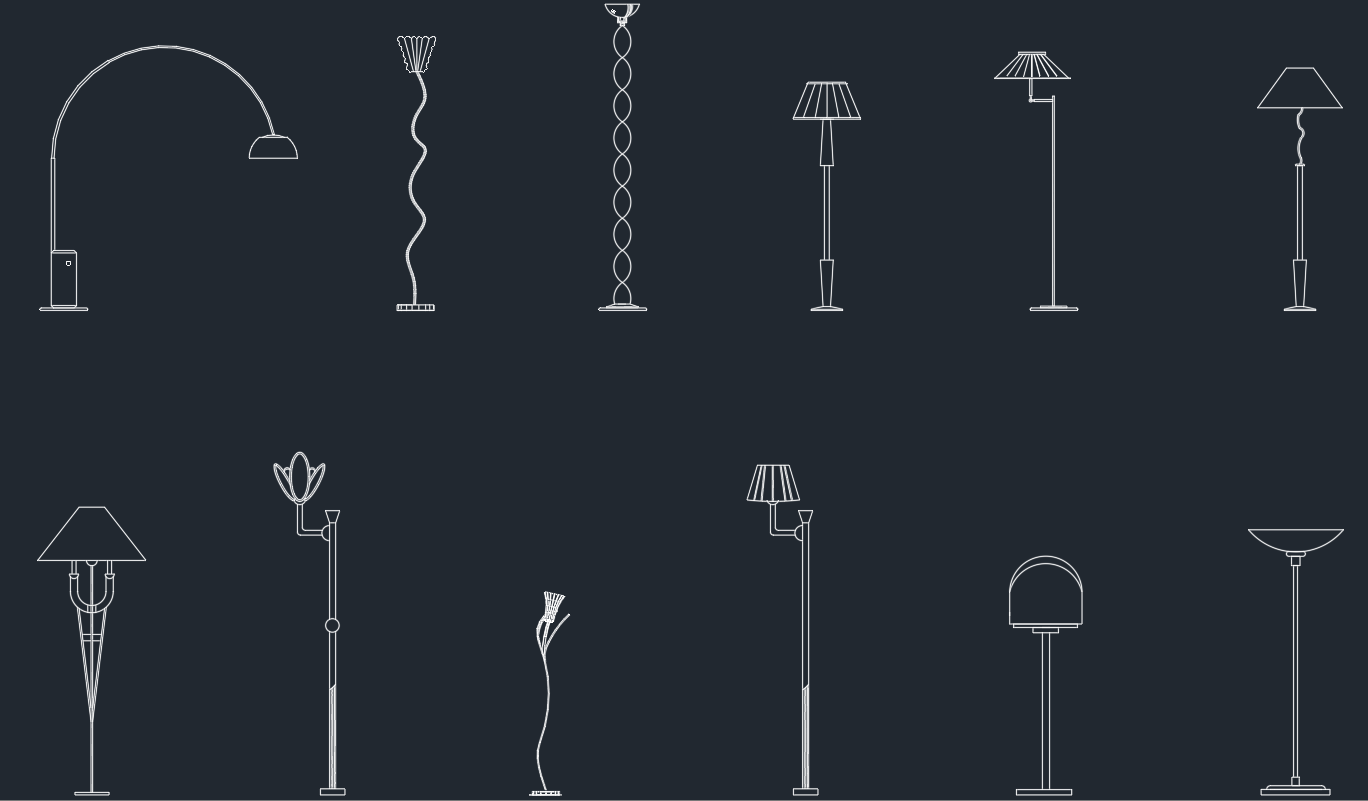 Free cad blocks and cad drawing part 70 for Floor lamp cad block