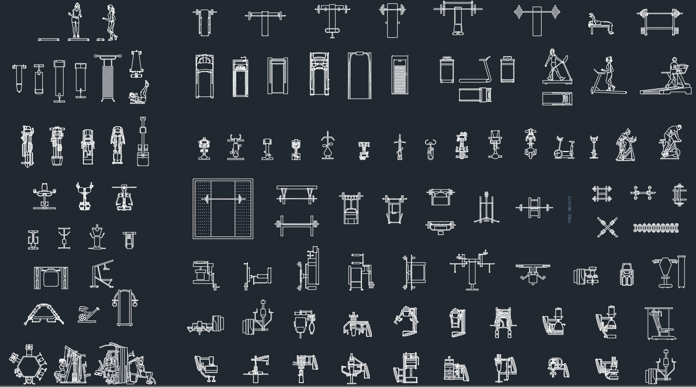 Gym equipment free cad blocks and drawing