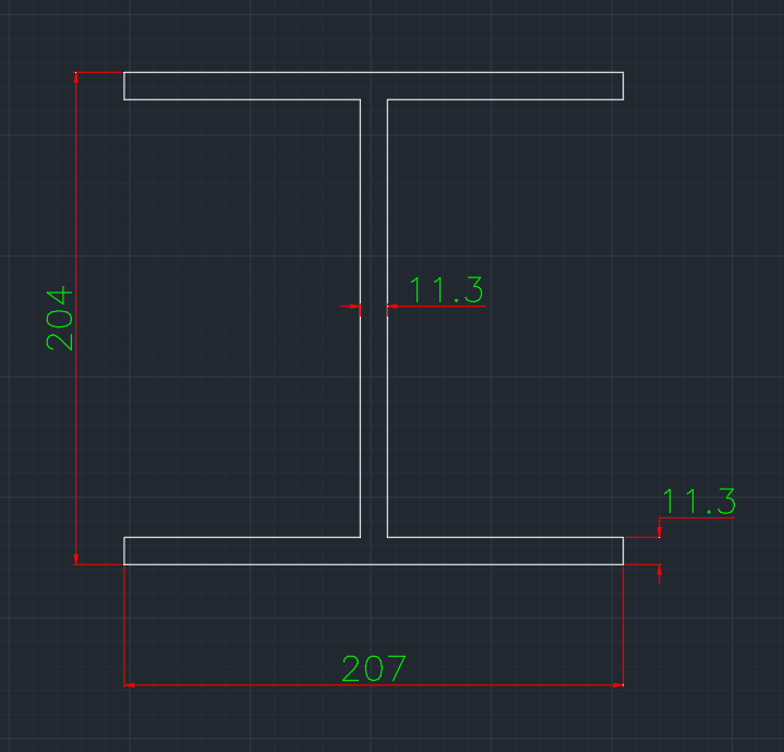 Wide Flange Canadian (HP) In dwg file format for AutoCAD and other 2D Software