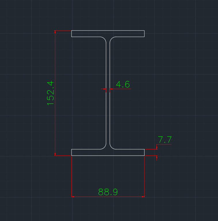Wide Flange South African (IP) In dwg file format for AutoCAD and other 2D Software