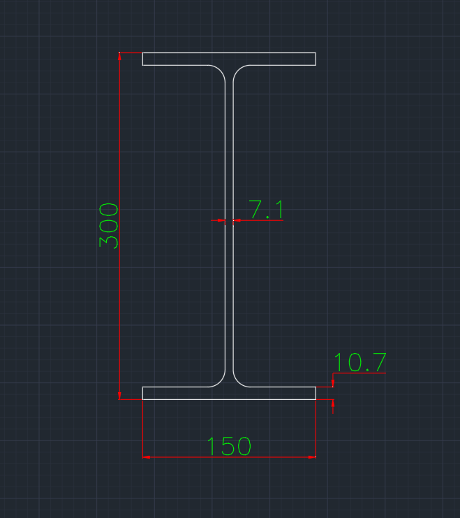 Wide Flange German (IPE) In dwg file format for AutoCAD and other 2D Software