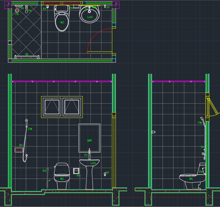 Bathroom Layout Cad Block And Typical Drawing For