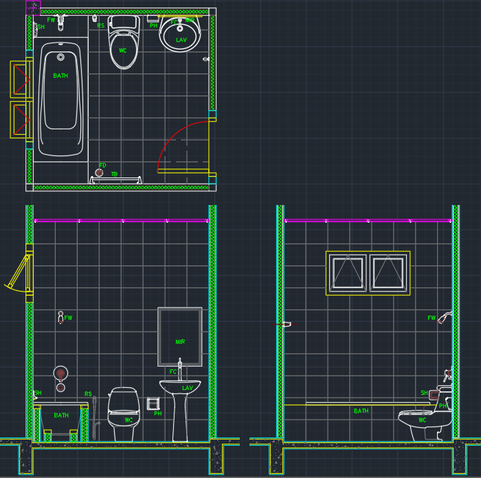 bathroom free cad blocks and cad drawing. Black Bedroom Furniture Sets. Home Design Ideas