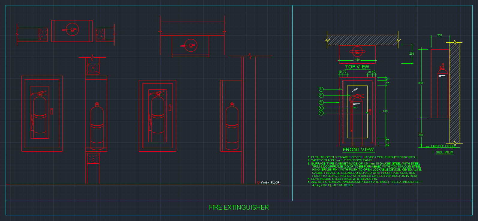 Fire Extinguisher Cabinets Free Cad Blocks And Cad Drawing