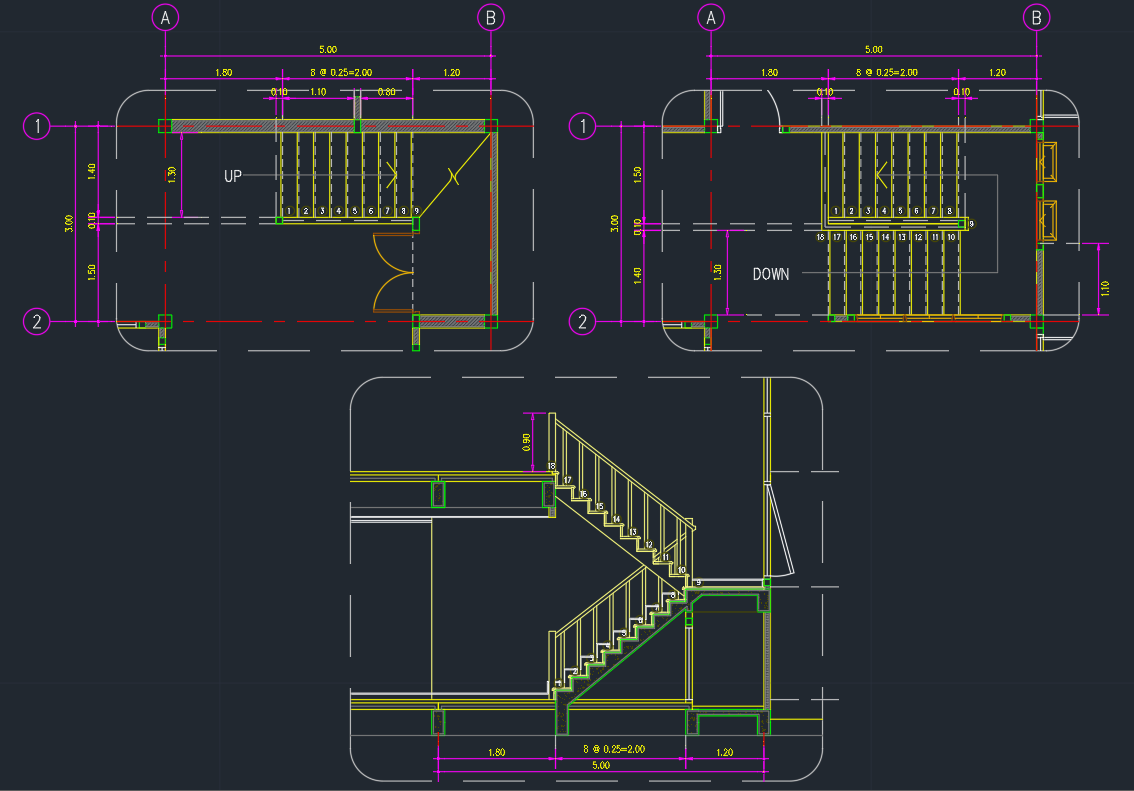 Stair treads free cad blocks and cad drawing for 2d design online