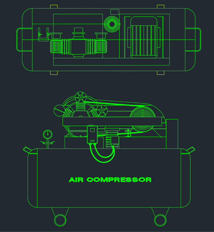 Air Compressor Cad Block And Typical Drawing For Designers
