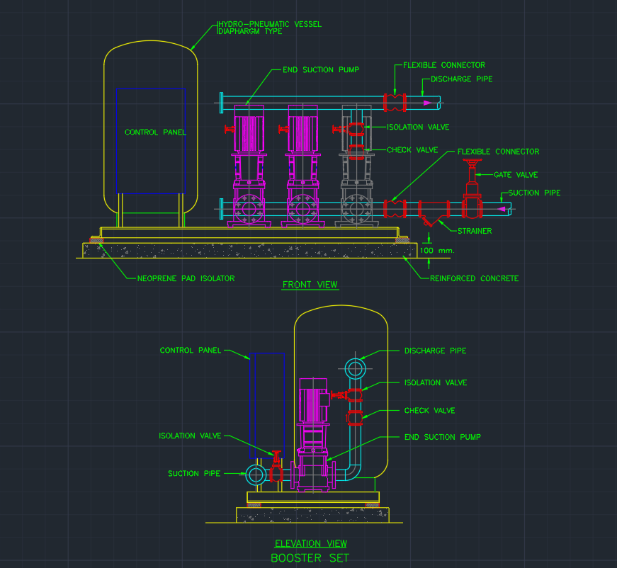 Booster Set Cad Block And Typical Drawing