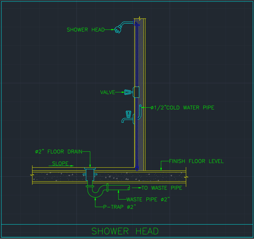 Shower head free cad blocks and drawing