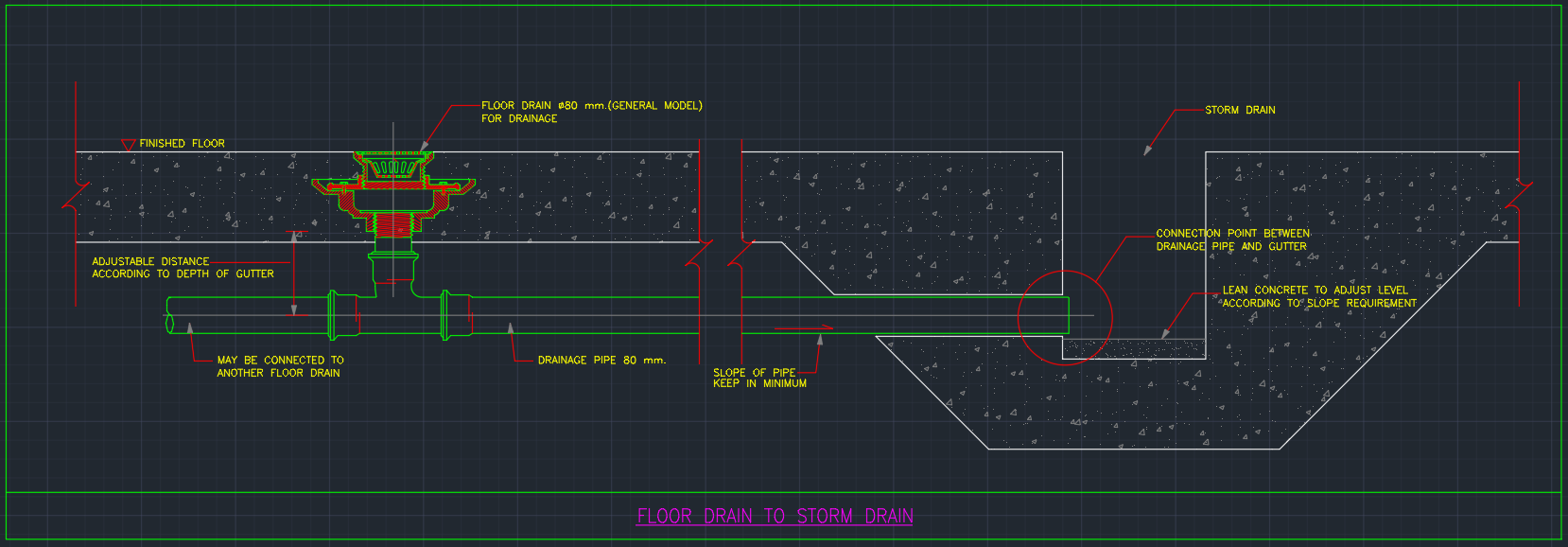 Floor Drain To Storm Drain Free Cad Blocks And Cad Drawing