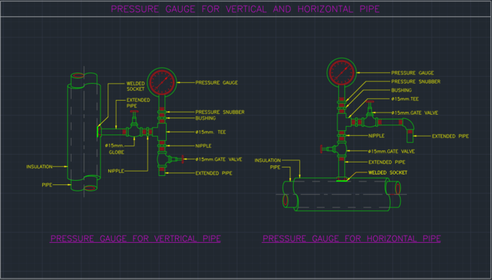 Pressure Gauge For Vertical And Horizontal Pipe