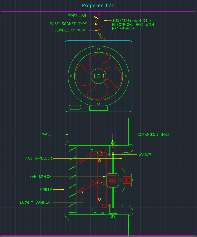 Propeller Fan Cad Block And Typical Drawing For Designers