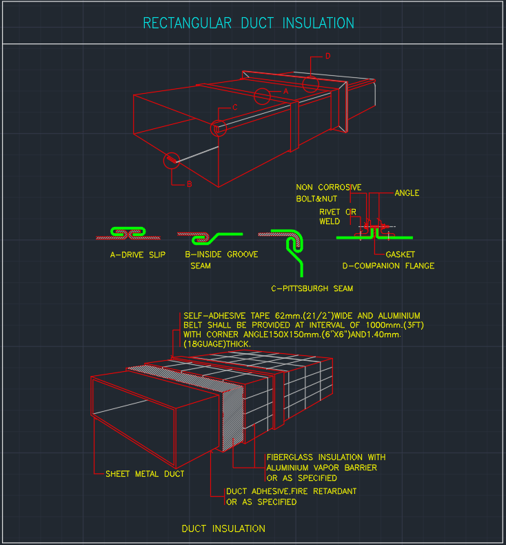 Rectangular Duct Insulation Free Cad Blocks And Cad