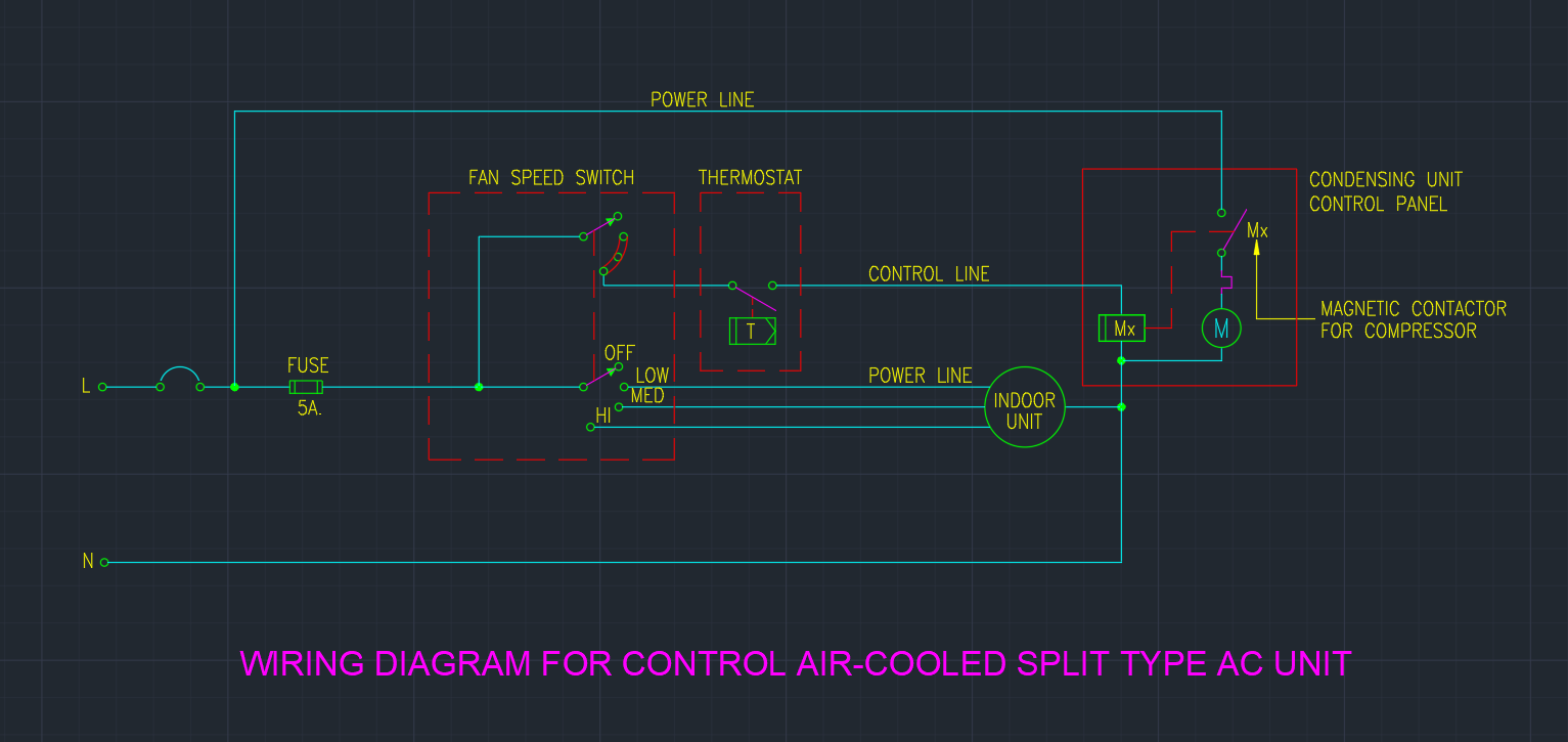 Wiring Diagram For Control Air Cooled Split Type Ac Unit on Ac Thermostat Wiring Diagram