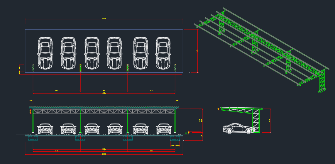 Car Park Cad Block And Typical Drawing